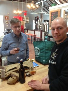 The brewer from Lammi, Finland, and headbrewer Ben Neidhart brewing up Sahti last month in Connecticut.